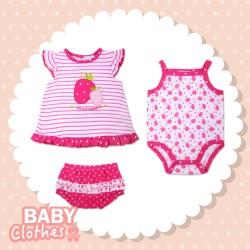 Infants 3pcs set Dress Bodysuit & Shorts 100% Cotton