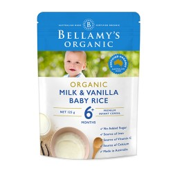 Bellamy's Oganic Milk & Vanilla Baby Rice 125g 6M+