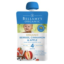Bellamy's Organic Berries, Cinnamon & Apple 120g 4M+