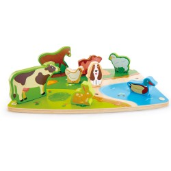 Hape Farm Animal Puzzle & Play (9pcs) 24M+