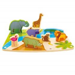 Hape Wild Animal Puzzle & Play (9pcs) 24M+