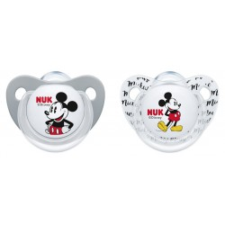 NUK Mickey Mouse Silicone Soother 0-6M / 6-18M (2pcs)