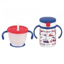 Richell Aqulea R Straw Training Mug & Clear Straw Bottle Mug Set 150ml+200ml 6M+