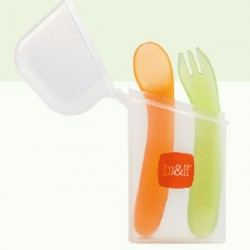 B&H Cured Shape baby Spoon & Fork with Case 12M+