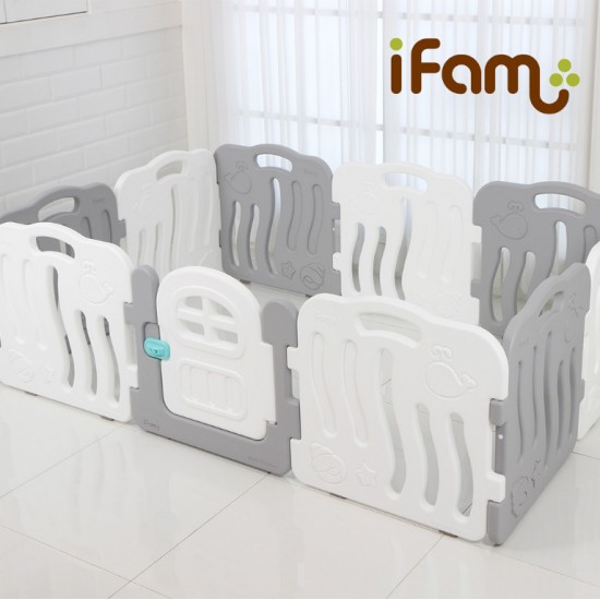 iFam Shell Baby Room (M) Gray/Blue/Pink + RUUN Double-sided Playmat (M) (RU-3S/RU-9S) Set