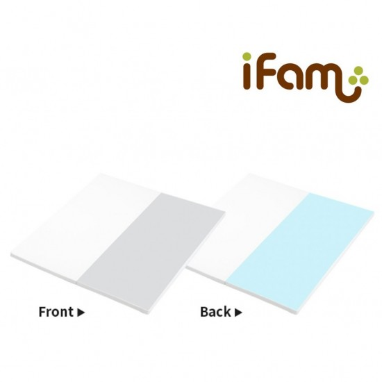 iFam Shell Baby Room (S) Gray/Blue/Pink + RUUN Shell Double-sided Playmat (S) (Gray&White/Blue&White) Set