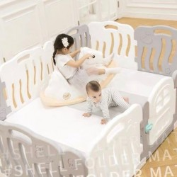 iFam Shell Baby Room (L) Gray/Blue/Pink + RUUN Double-sided Playmat (L) (Gray & White / Mint & White) Set